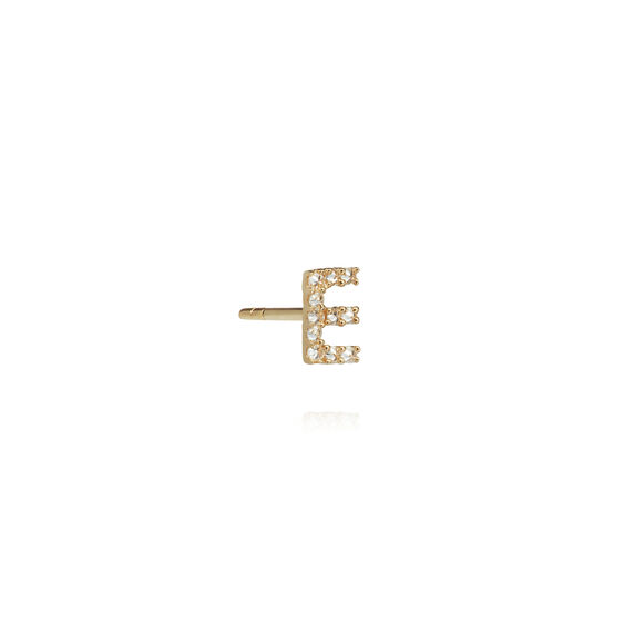 18ct Gold Diamond Initial E Single Stud Earring