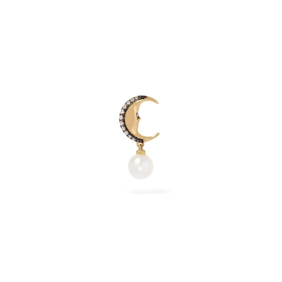 Mythology 18ct Gold Pearl Moon Single Right Drop Earring | Annoushka jewelley
