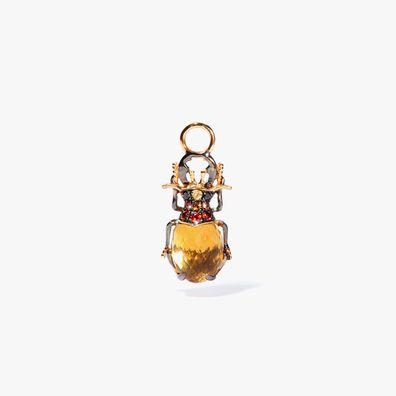 Mythology 18ct Gold Citrine Beetle Single Earring Drop
