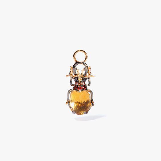 Mythology 18ct Gold Citrine Beetle Single Earring Drop | Annoushka jewelley