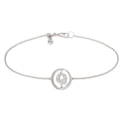 18ct White Gold Diamond Initial Q Bracelet