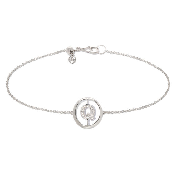 18ct White Gold Diamond Initial Q Bracelet
