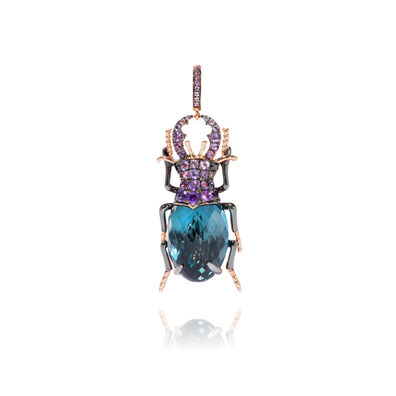 Mythology 18ct Rose Gold Blue Topaz Beetle Charm