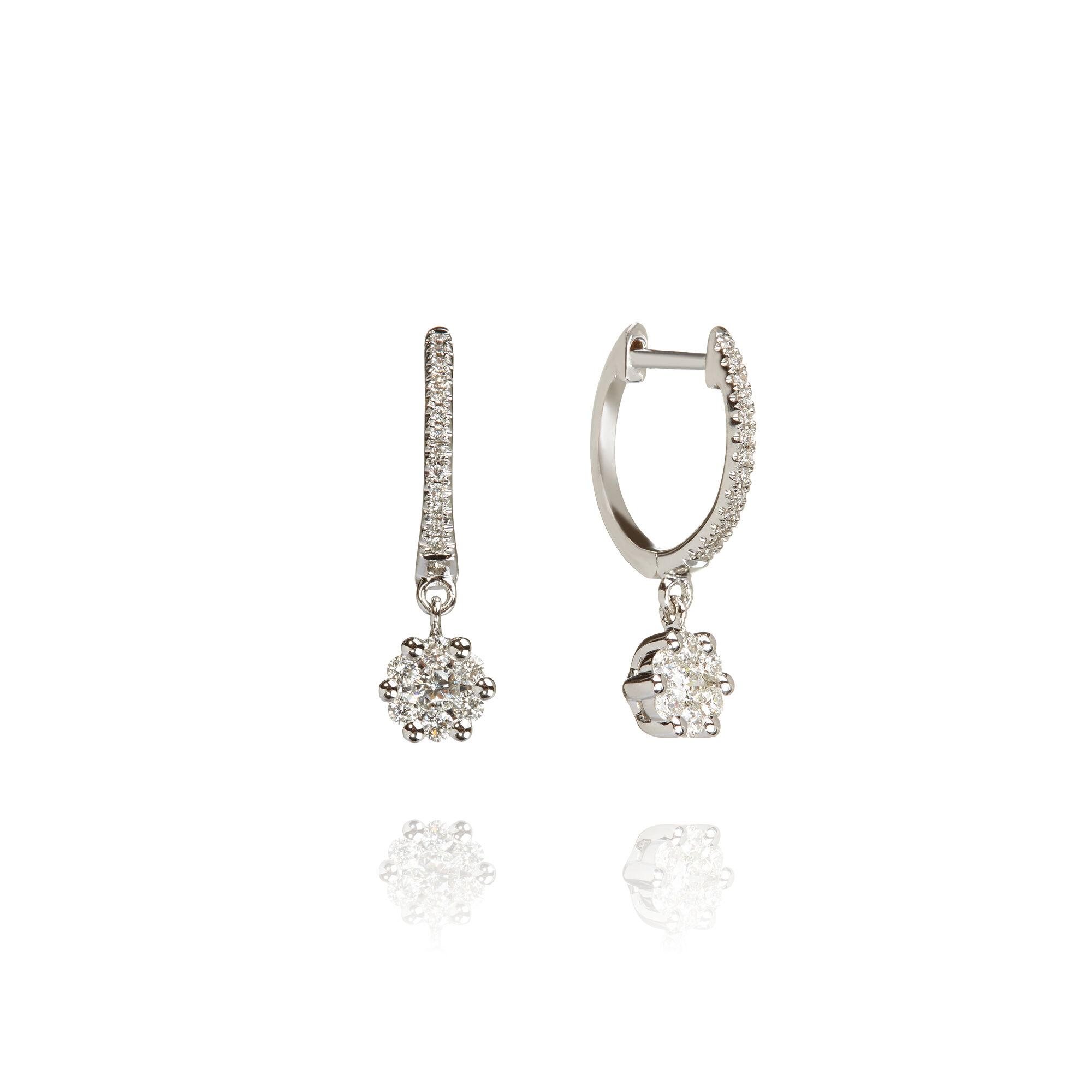 1d1b1ff5b4ebf Daisy 18ct White Gold Diamond Hoop Earrings