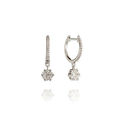 Daisy 18ct White Gold Diamond Hoop Earrings