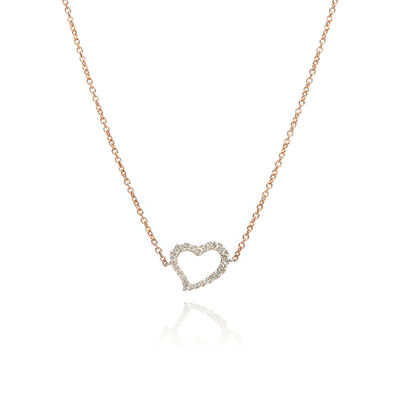 Love Diamonds 18ct Bi-Gold Diamond Heart Necklace