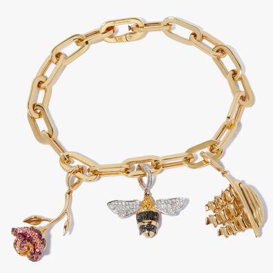 18ct Gold Diamond Ruby & Sapphire Charm Bracelet