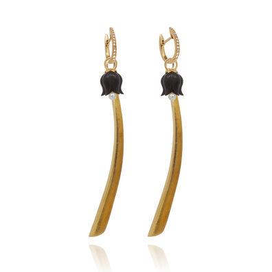 18ct Gold Diamond Palm & Tulip Earrings