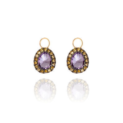 Dusty Diamonds 18ct Gold Amethyst Mini Earring Drops