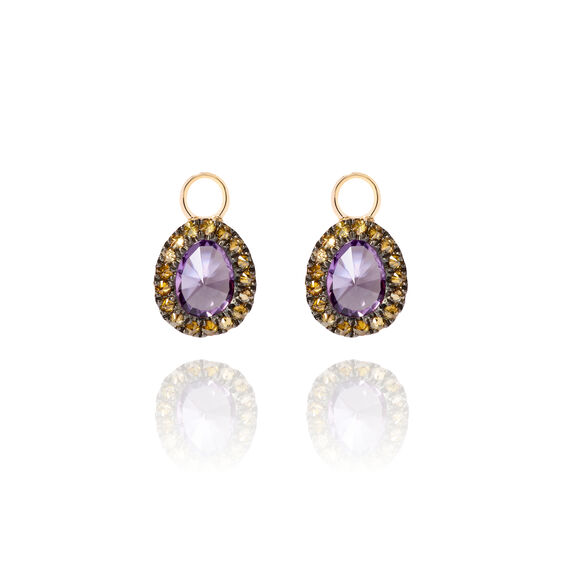 Dusty Diamonds 18ct Gold Amethyst Mini Earring Drops | Annoushka jewelley