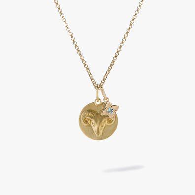 Gold Aries & Aquamarine March Birthstone Necklace