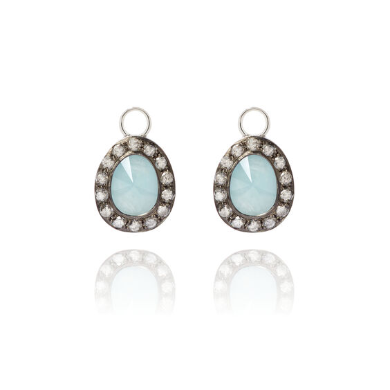 Dusty Diamonds 18ct White Gold Aquamarine Earring Drops | Annoushka jewelley