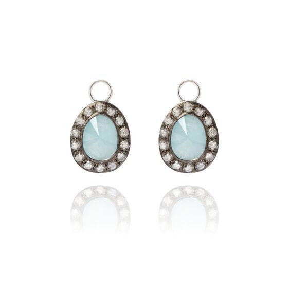 Dusty Diamonds 18ct White Gold Aquamarine Earring Drops