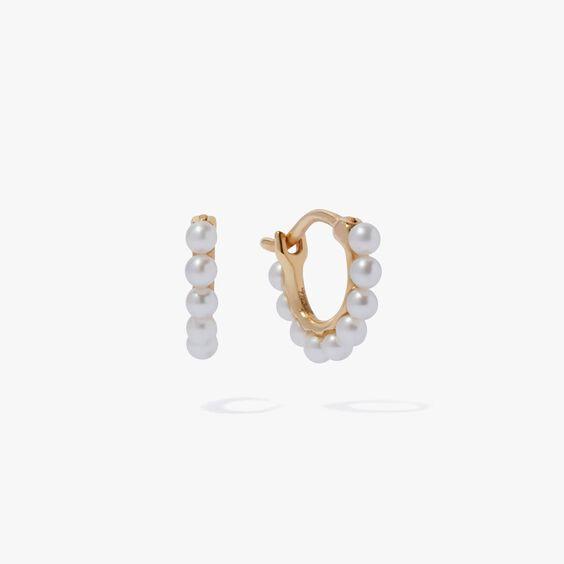 18ct Gold Pearl Hoop Mini Earrings