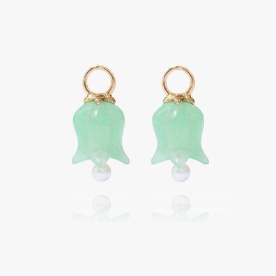 18ct Gold Jade Tulip Earring Drops
