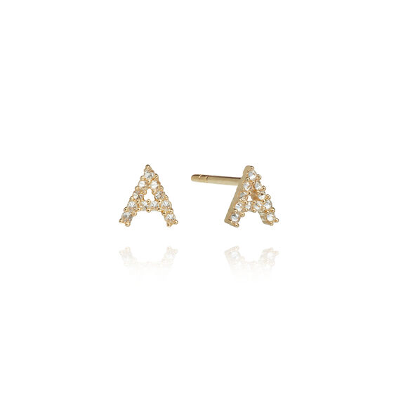 A pair of 18ct Gold Diamond Initial A Stud Earrings | Annoushka jewelley