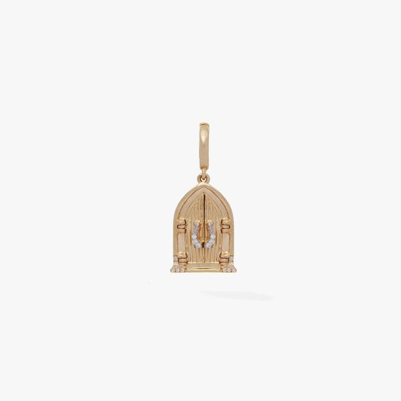 18ct Gold Church Doors Locket Charm