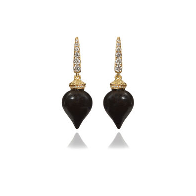 Touch Wood 18ct Gold Small Ebony Earrings