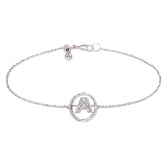 18ct White Gold Diamond Initial A Bracelet