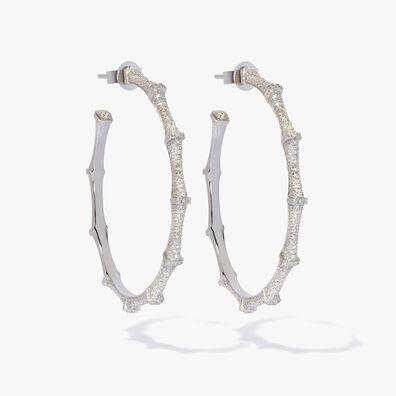 Dream Catcher 18ct White Gold Diamond Large Hoop Earrings