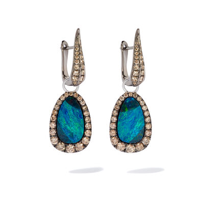 18ct White Gold Brown Diamond Opal Earrings