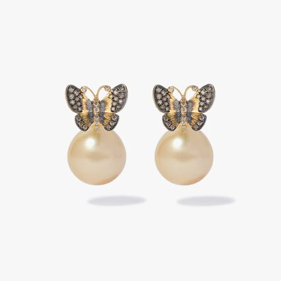 18ct Gold South Sea Pearl Butterfly Earrings