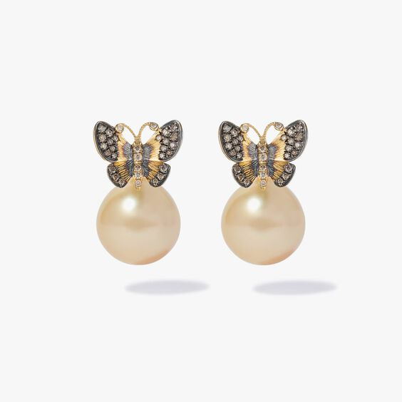 18ct Gold South Sea Pearl Butterfly Earrings | Annoushka jewelley