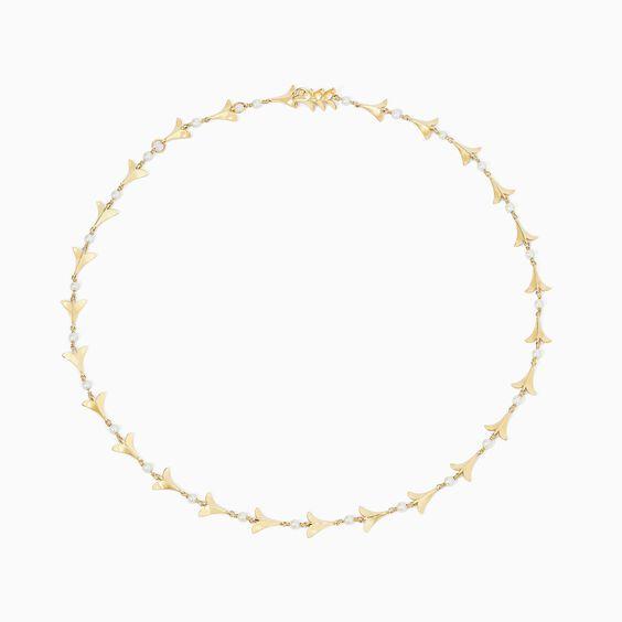 18ct Gold Pearl Diamond Lovebirds Choker