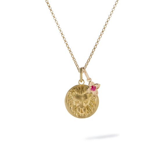 Gold Leo & Ruby July Birthstone Necklace   Annoushka jewelley