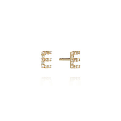 A pair of 18ct Gold Diamond Initial E Stud Earrings