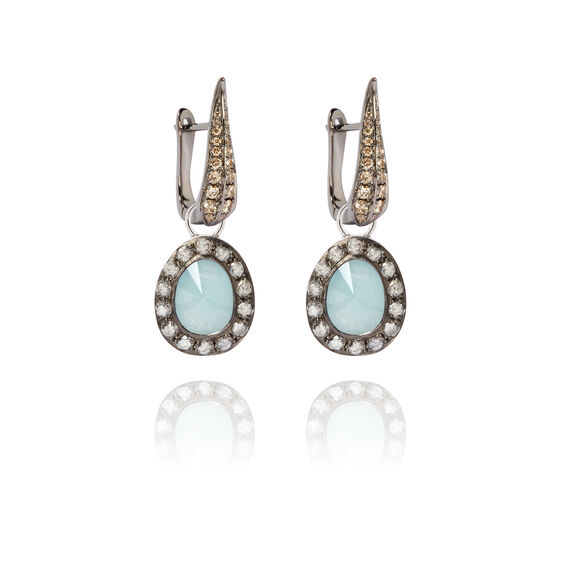 Dusty Diamonds 18ct White Gold Aquamarine Earrings