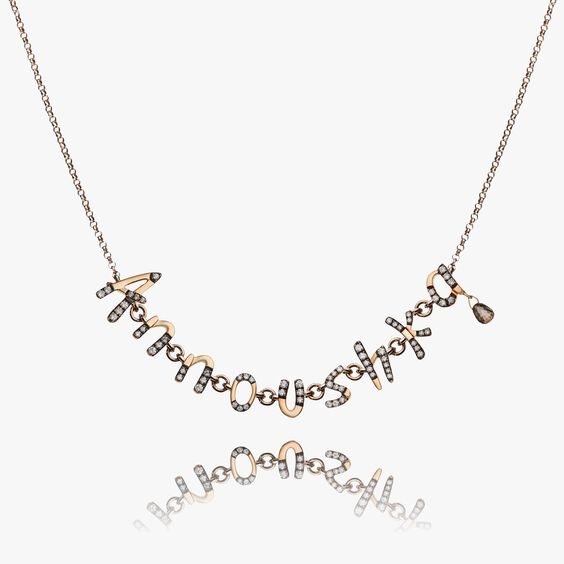 Personalised Rose Gold Chain Letters Necklace