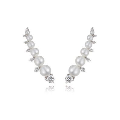 Diamonds & Pearls 18ct White Gold Ear Pins