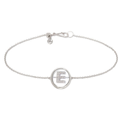18ct White Gold Diamond Initial E Bracelet