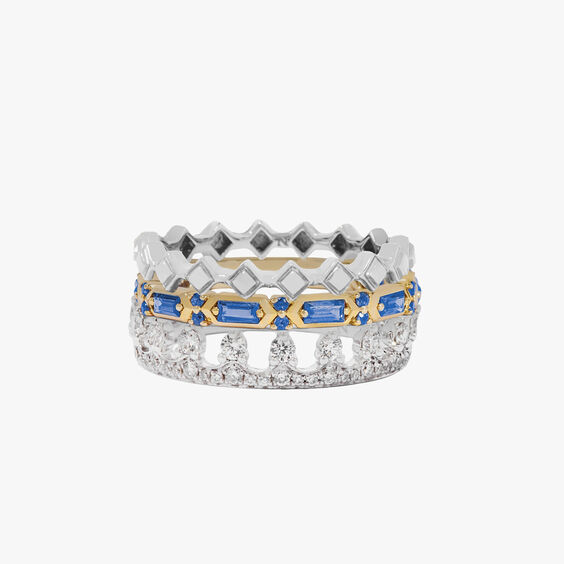 18ct Gold Stepping Stone, Crown and Baguette Ring Stack