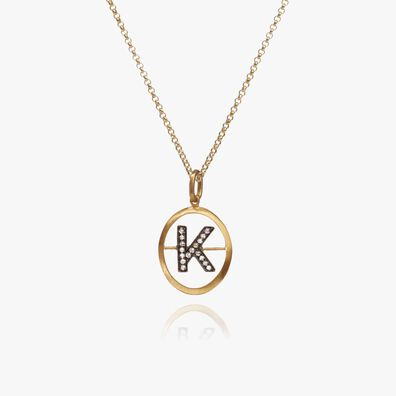 18ct Gold Diamond Initial K Necklace
