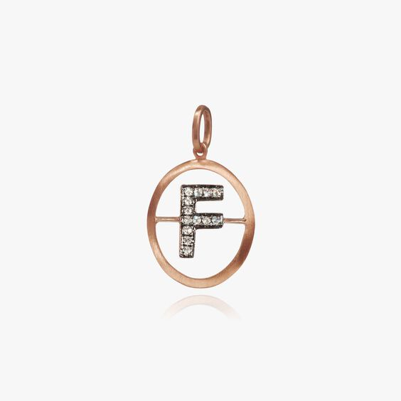 18ct Rose Gold Initial F Pendant | Annoushka jewelley