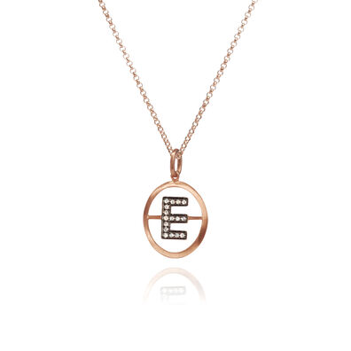 18ct Rose Gold Initial E Necklace