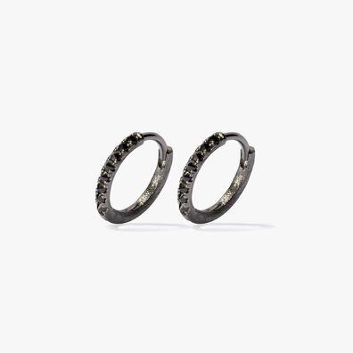 Dusty Diamonds 18ct White Gold Black Diamond 12mm Hoops