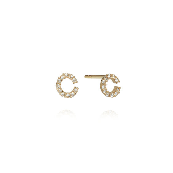 A pair of 18ct Gold Diamond Initial C Stud Earrings