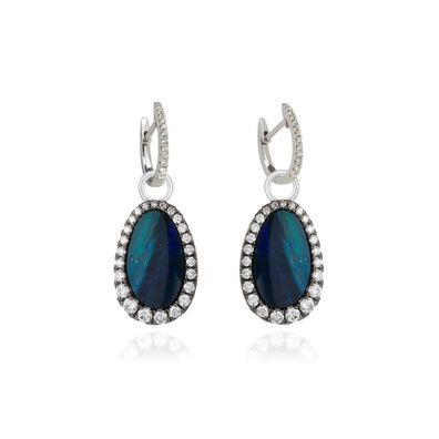 Unique 18ct White Gold Opal Drop Earrings