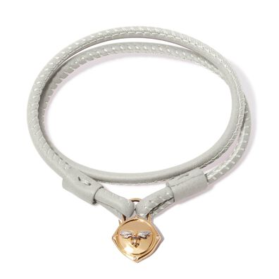 Lovelock 18ct Gold 41cms Cream Leather Bee Charm Bracelet
