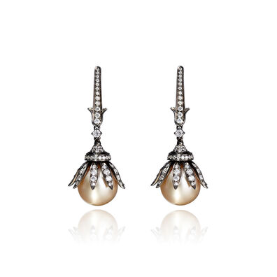18ct White Gold South Sea Golden Pearl Earrings