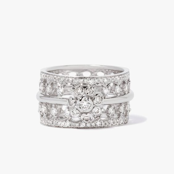 Marguerite 18ct White Gold Ring Stack   Annoushka jewelley