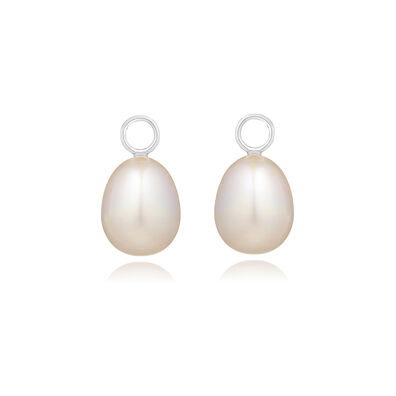 18ct White Gold Baroque Pearl Earring Drops