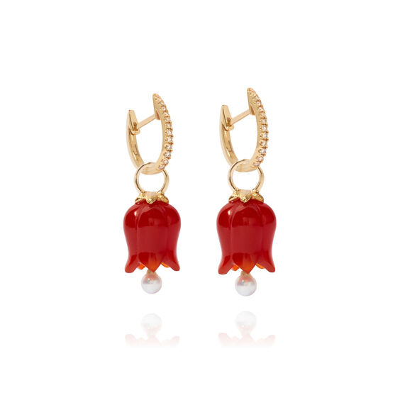 18ct Gold Red Agate Pearl Tulip Earrings | Annoushka jewelley
