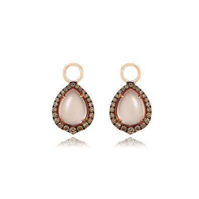 18ct Rose Gold Rose Quartz Diamond Earring Drops befec1fe568