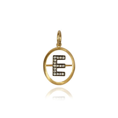 18ct Gold Diamond Initial E Pendant