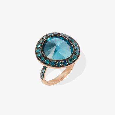Dusty Diamonds 18ct Rose Gold Topaz Ring