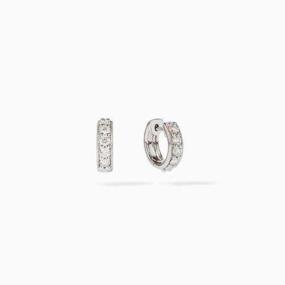 Dusty Diamonds 18ct White Gold Diamond Hoop Earrings